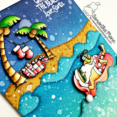 Gone to the Beach, Love Santa Card by Samantha Mann for Newton's Nook Designs, Christmas, tropical christmas, cards,#distressinks #inkblending #christmas #tropical #beach #santa #newtonsnook
