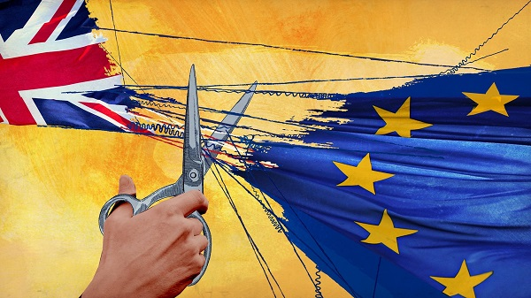 Union Jack skiljs från EU-flaggan