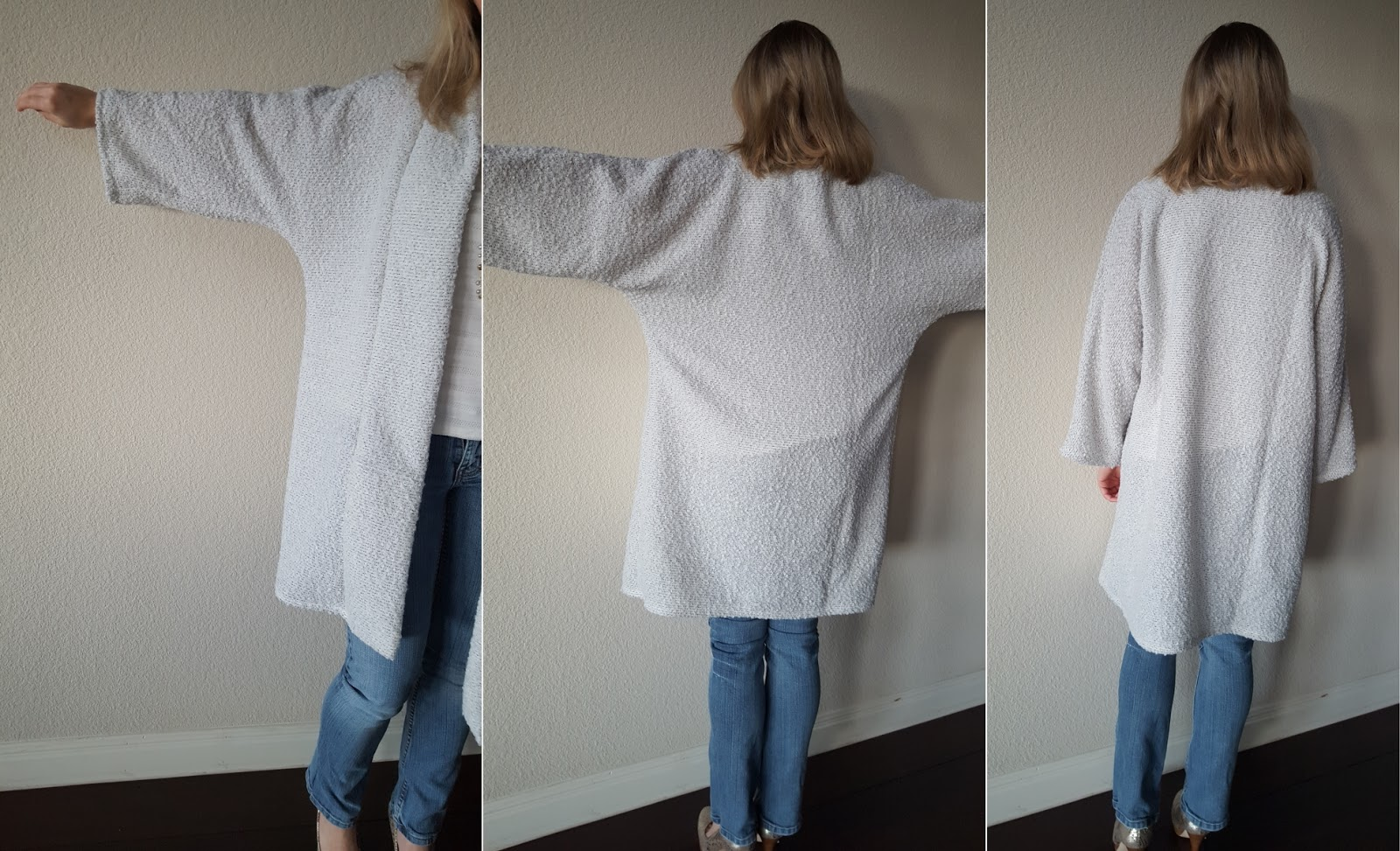 Sleeve and back views of cardigan outerwear from M6802 sewing pattern