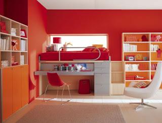 Gambar Desain Kamar Belajar Anak Modern Minimalis Merah Cerah