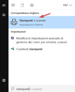 Stampante su Windows 10