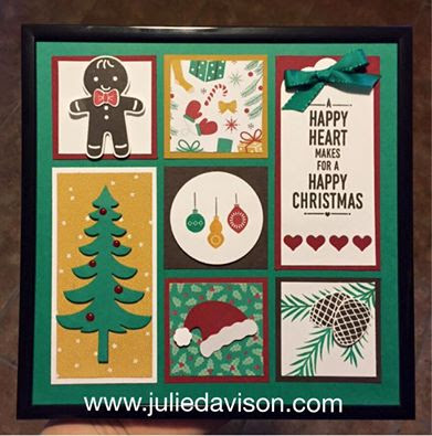 Stampin' Up! Presents & Pinecones Christmas Sampler Frame #stampinup 2016 Holiday Catalog www.juliedavison.com