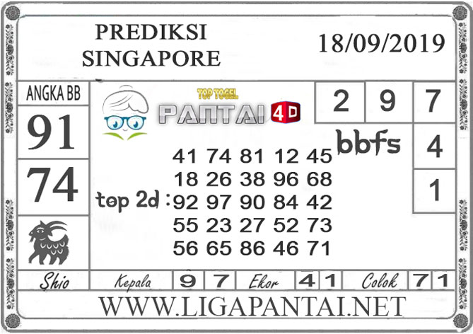 "PREDIKSI TOGEL ""SINGAPORE"" PANTAI4D 18 SEPTEMBER 2019"
