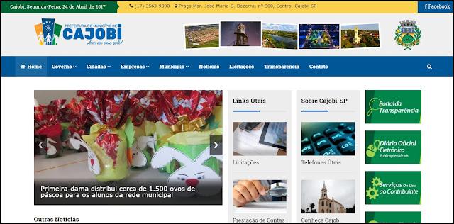 Prefeitura de Cajobi lança novo site