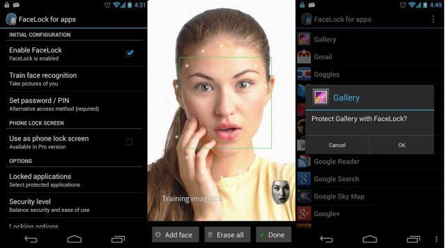 FaceLock for apps can unlock apps with face