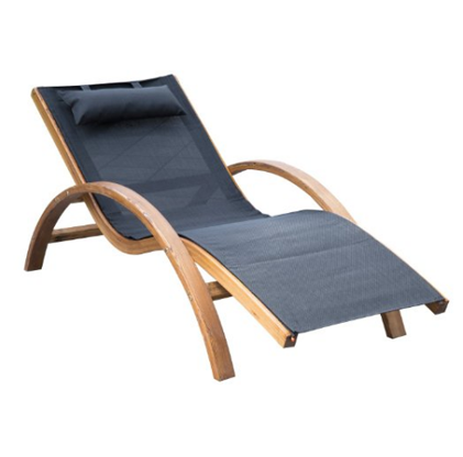 Outsunny Outdoor Wood Chaise Lounge Chair