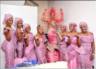 Adesua Etomi and her brides maid