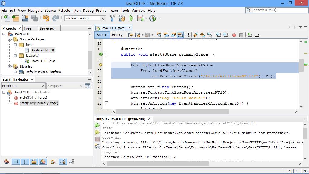 Java-Buddy: Load True Type Font (ttf) in JavaFX