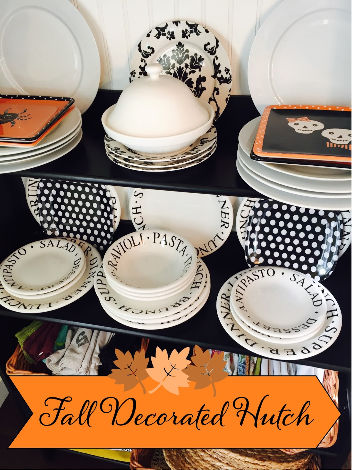 Fall decorated hutch Ikea shelving black and white dishes Orange Halloween dishes & Fall decorated hutch - The Style Sisters