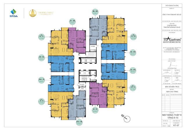 Mặt bằng diển hình tòa B chung cư Thống Nhất Complex