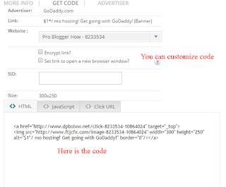 HTML affiliate  code