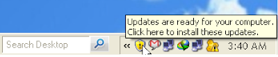Automatic Update Notification message - Updates are ready for your computer. Click here to install these updates