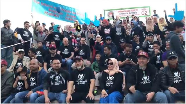 Ratusan WNI Deklarasi Menangkan Prabowo-Sandi di Melbourne Australia