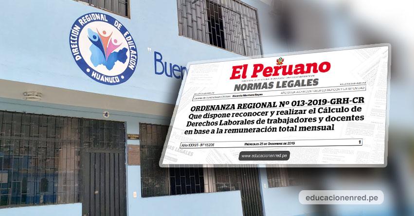 DEUDA SOCIAL: Más de 4 mil docentes de Huánuco podrán cobrar beneficios sin judicialización, según Ordenanza Regional publicado en El Peruano