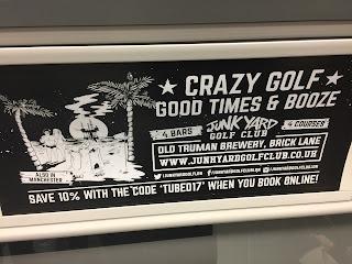 The Junkyard Crazy Golf advert on a Northern Line tube train. Photo by Gareth Holmes