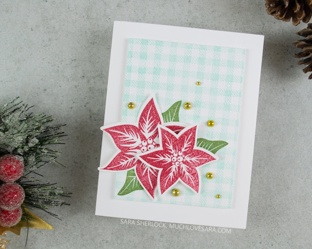 This simple and fun Christmas card features a non-traditional pop of Pool color behind the more traditional red and green.  Featuring stamps from Fun Stampers Journey.
