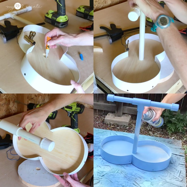 attaching pvc pipe to wood base with super glue