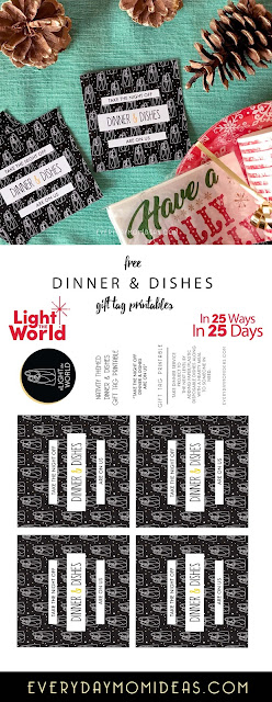 Light The World 2017 / Day 21  / Dinner & Dishes - Creative Ways To Feed The Hungry / Christmas Service Project (FREE Printable)
