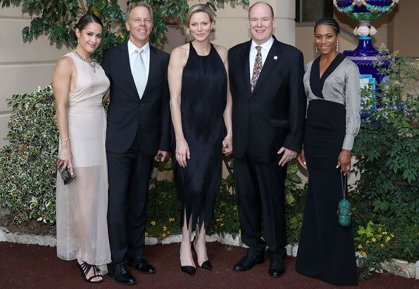Golden Nymph Award Michael Douglas. Princess Charlene is wearing Carolina Herrera dress. Maria Carolina, Princess Camilla and Maria Chiara