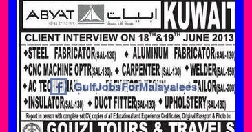 Abyat Kuwait Job Vacancies Gulf Jobs For Malayalees