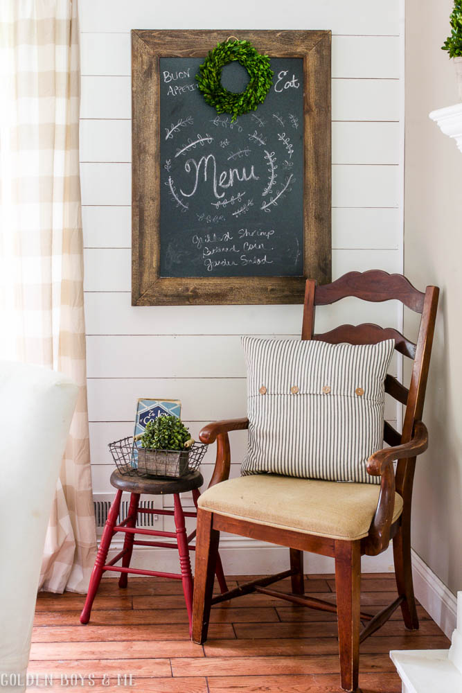 Dining room chalkboard with shiplap wall