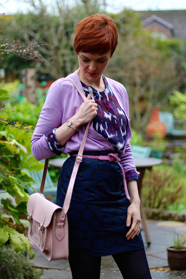 Fake Fabulous | Boden Navy mini, second female silk blouse, lilac COS cardigan, Navy gipsy tights, pink cambridge satchel, french sole pumps
