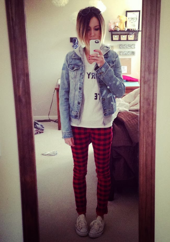 plaid pants, graphic tee, denim jacket and Converse
