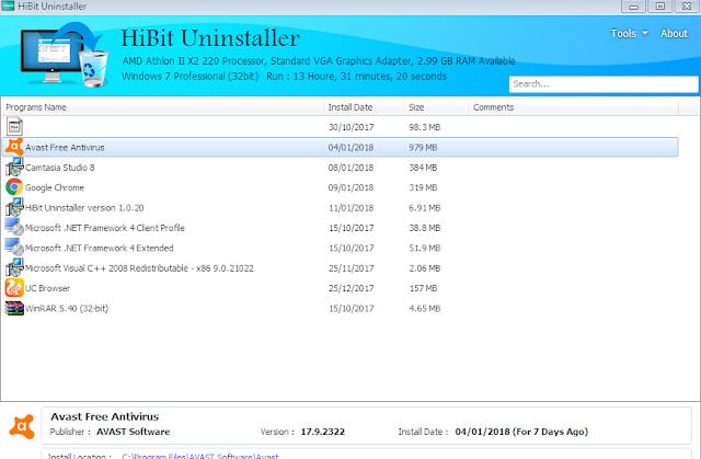 تحميل برنامج HiBit Uninstaller لحذف البرامج التالفة والمخفية