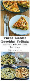 Three Cheese Zucchini Frittata Recipe with Mozzarella, Feta, and Parmesan (Low-Carb, Gluten-Free, Meatless) [from KalynsKitchen.com]