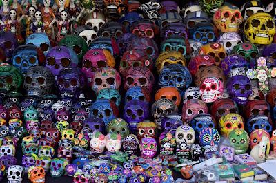 Artistic skulls for sale. Día de Muertos. Santa Ana, CA 2016