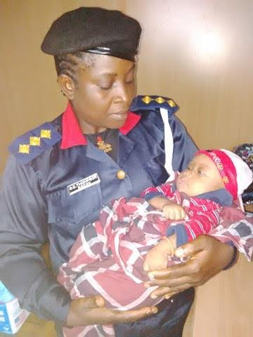 NSCDC officials rescue 2 month old baby abandoned by a roadside in Rivers State (Photo)