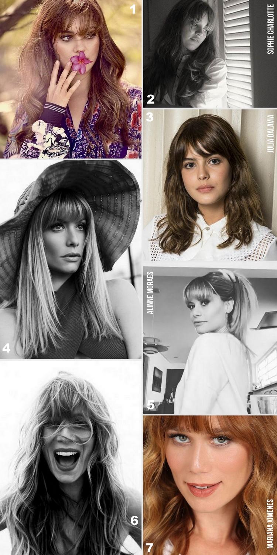 Famosas que adotaram cabelo com franja: Sophie Charlotte, Alinne Moraes, Mariana Ximenes e Julia Dalavia.