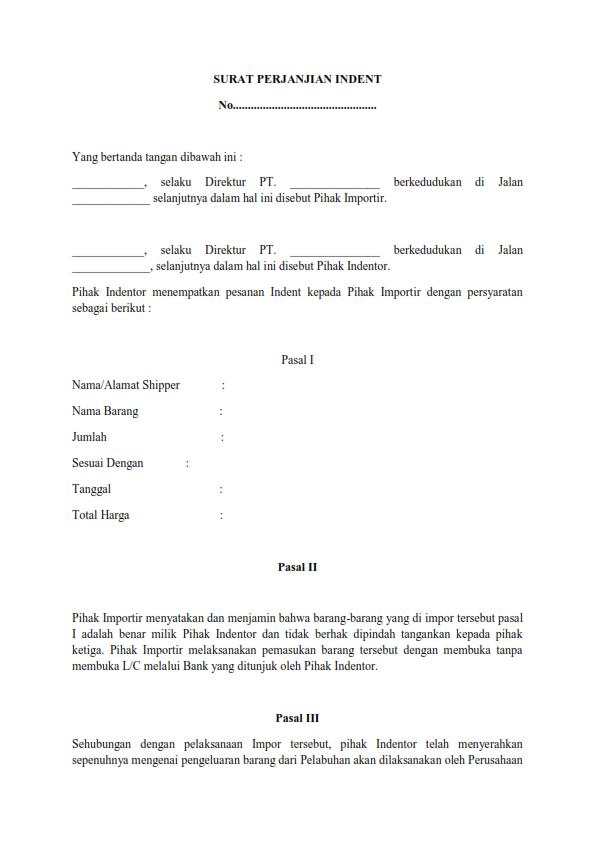 Contoh Surat Perjanjian Indent