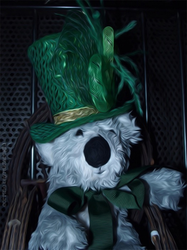 st.patrick's day bear, toy photography, photo manipulation