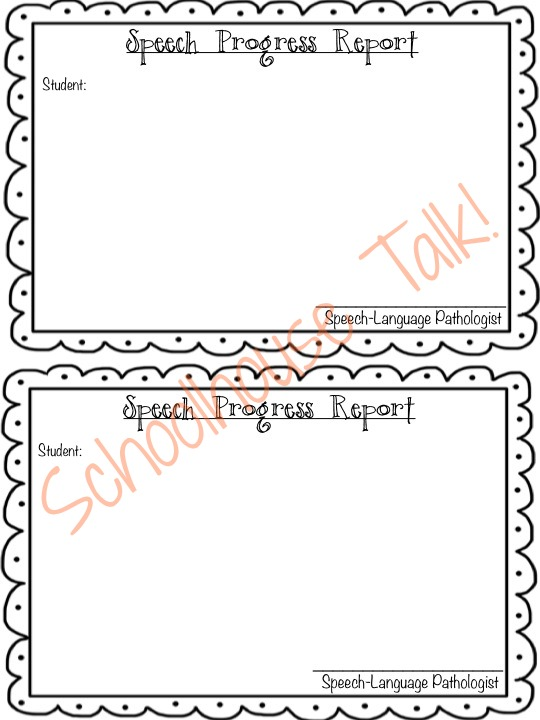 Schoolhouse Talk! {FREE} Speech Therapy Progress Report Template