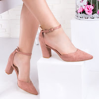 Pantofi cu toc dama roz Kilisa