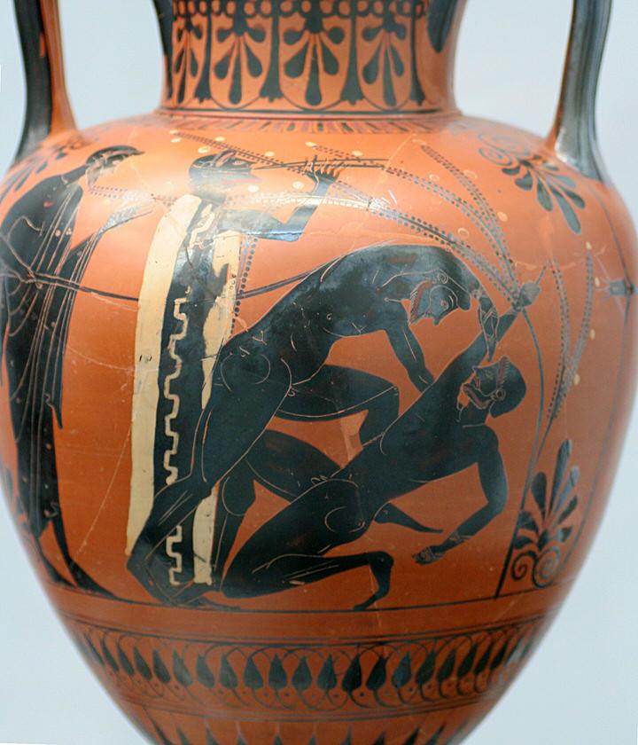 Παγκράτιο. Ο δεξιός πυγμάχος σηματοδοτεί πως παραδίνεται σηκώνοντας το δάχτυλό του ψηλά (περ. 500 π.Χ.)