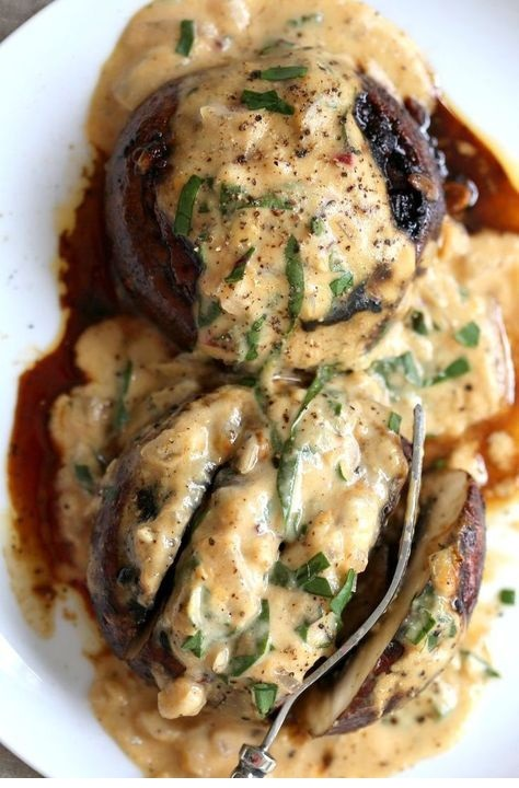 Grilled Portobello Mushrooms with Garlic Sauce