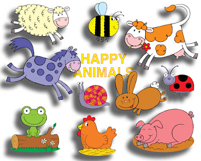 Picture of ten happy animals available as clip art