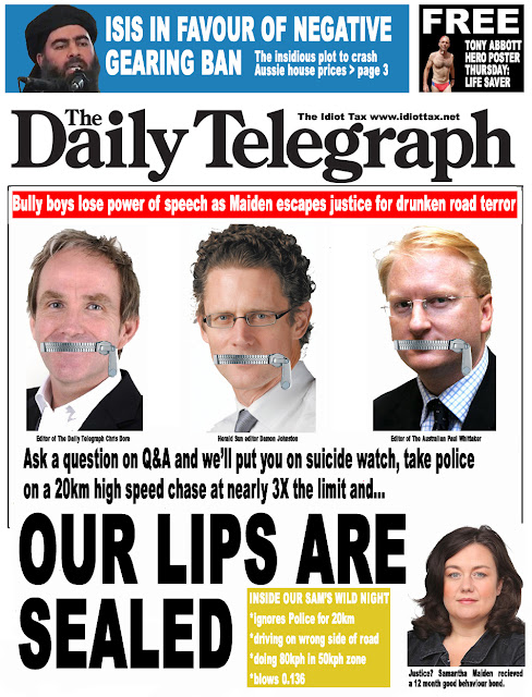 Daily Telegraph front page Chris Dore Samantha Maiden Paul Whittaker