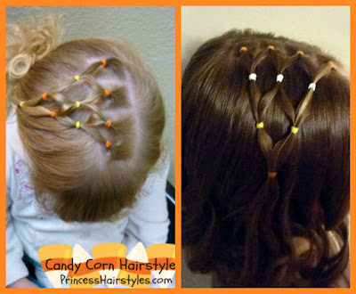 Candy corn hair tutorial, for Halloween and Fall