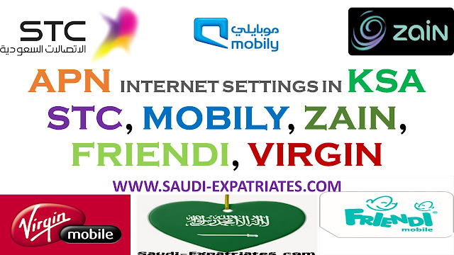 ACCESS POINT NAMES OF STC MOBILY ZAIN FRIENDI VIRGIN