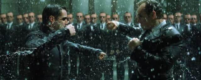 Neo y agente Smith, lucha final en Matrix Revolutions