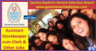 JKSSB Assistant Storekeeper Recruitment 2017-18 Jammu & Kashmir Jobs