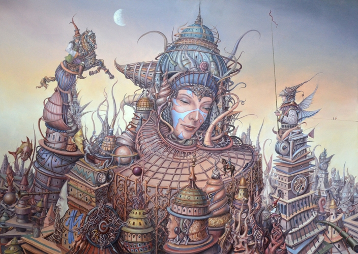 03-Gold-city-Tomek-Sętowski-Surreal-Oil-Paintings-that-Tell-a-Story-www-designstack-co