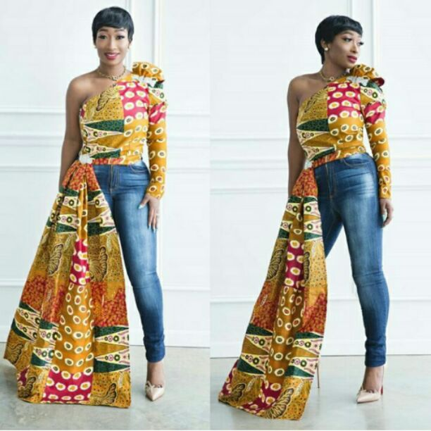 waist tied ankara top with jeans