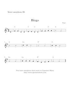 Bingo, sheet music, tenor sax