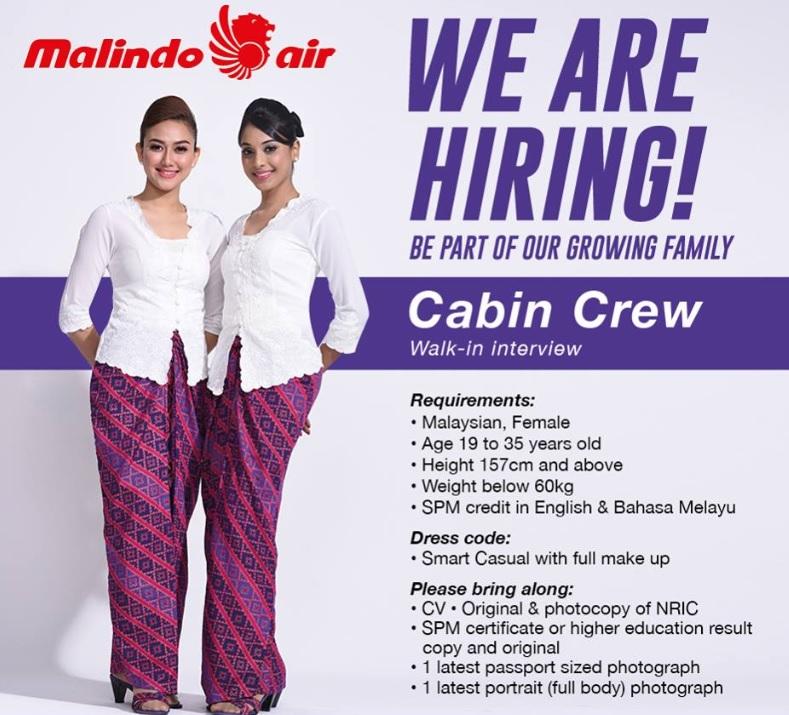 Fly gosh malindo air cabin crew recruitment walk in for Cabin crew recruitment 2017