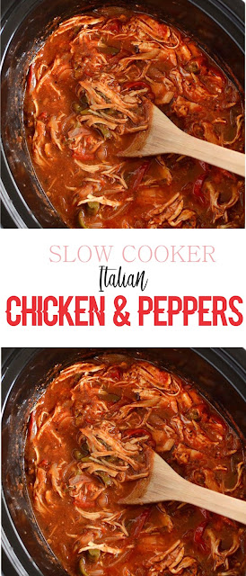 SLOW COOKER ITALIAN CHICKEN AND PEPPERS