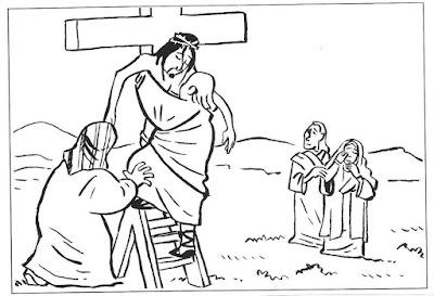 Dibujos De Semana Santa Para Colorear Bajando A Jesús De La